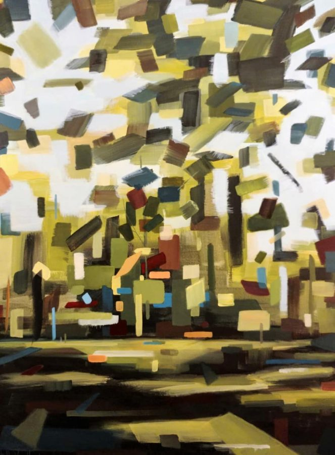 Paradise Found40 x 30″ mixed media painting by Holly Van Hart $3800