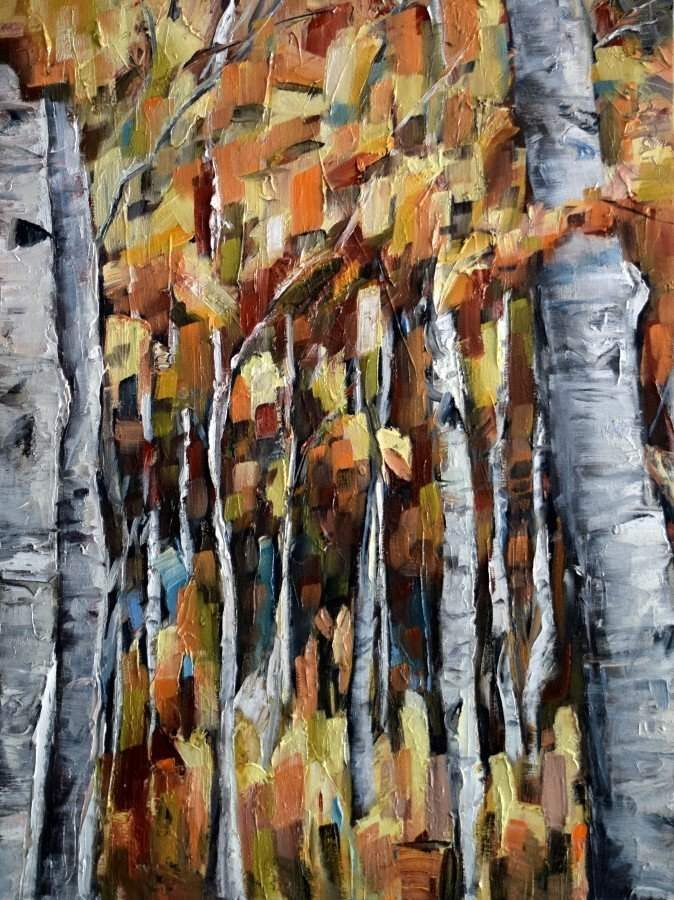 Abstract Nature Painting By Silicon Valley Artist Holly Van Hart, Featuring Birch Trees In Autumn With Red And Gold Leaves