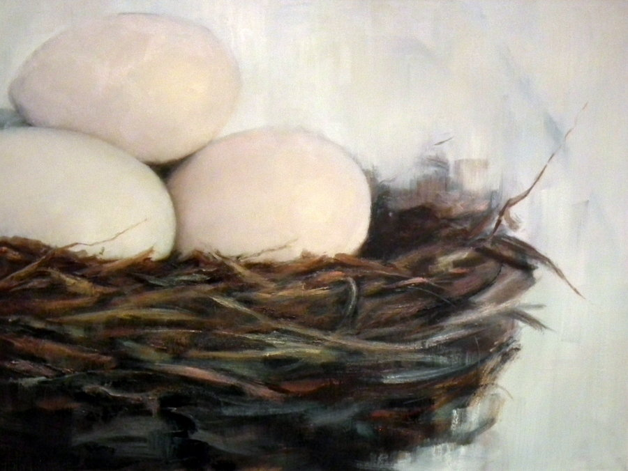 Abstract nest painting by Holly Van Hart | Nest, eggs | Green, brown, white | Oil painting | 'Abundance' | Exhibited at the Triton Museum of Art