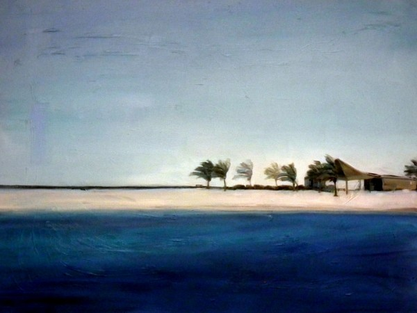 Oil painting by Holly Van Hart, blue, landscape, palm trees