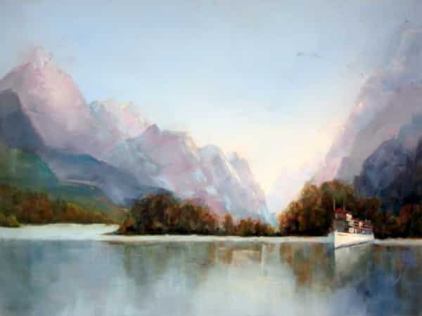 Abstract Nature Painting by Holly Van Hart, mountains, lake, cruise boats