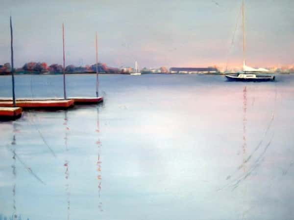 Abstract Nature Painting by Holly Van Hart, sailboat, harbor, sunset, blue, pink, orange