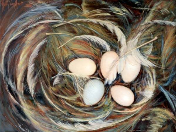 Abstract nest painting by Holly Van Hart | Nest, eggs | Brown, blue, white | Oil painting