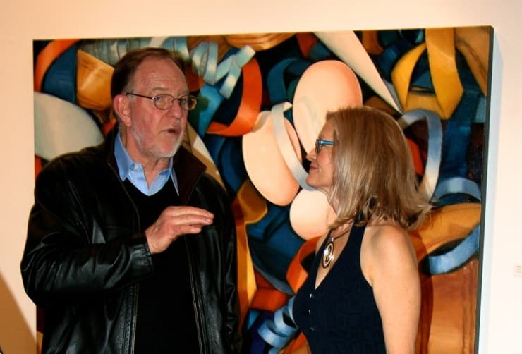 David Middlebrook With Holly Van Hart At Her Solo Exhibition At The Triton Museum Of Art, 'Possibilities Abound' Featuring Larger-than-life Oil Paintings Of Nests And Eggs
