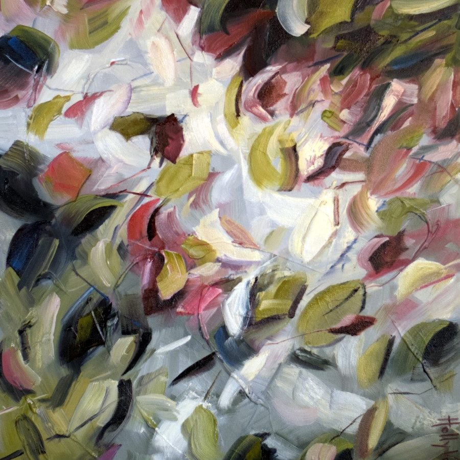 Flowers Leaves Light | Red Green Yellow White | Afternoon Light, Abstract Nature Painting By Holly Van Hart