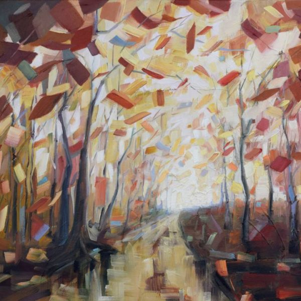 Abstract Forest Painting By Holly Van Hart | Red, Brown, Yellow | Oil Painting