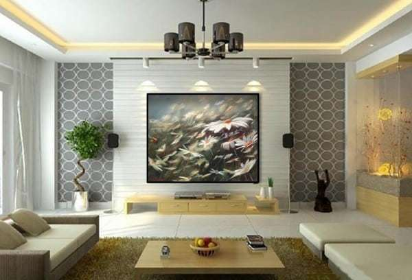 Installed painting in a living room, nature painting by Holly Van Hart