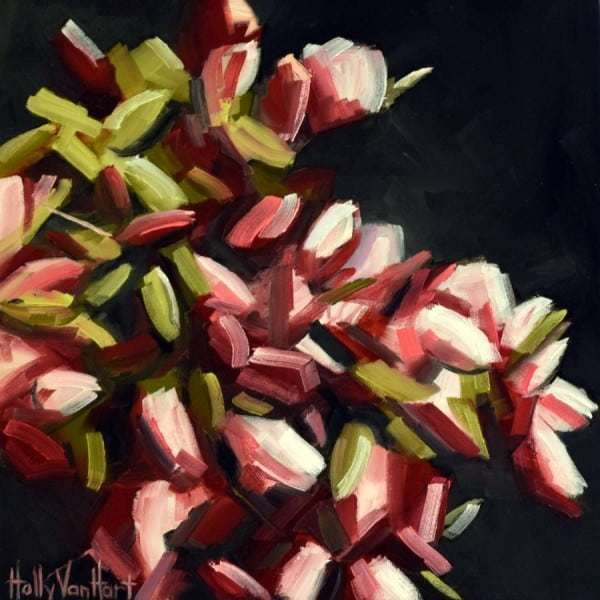 Flowers | Roses | Red White | Blooms Abounding, Abstract Nature Painting By Holly Van Hart