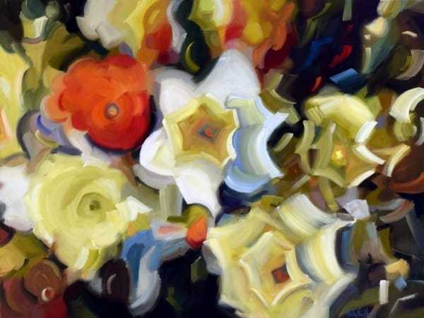 Abstract nature painting by Silicon Valley artist Holly Van Hart, containing yellow daffodils and red-orange flowers