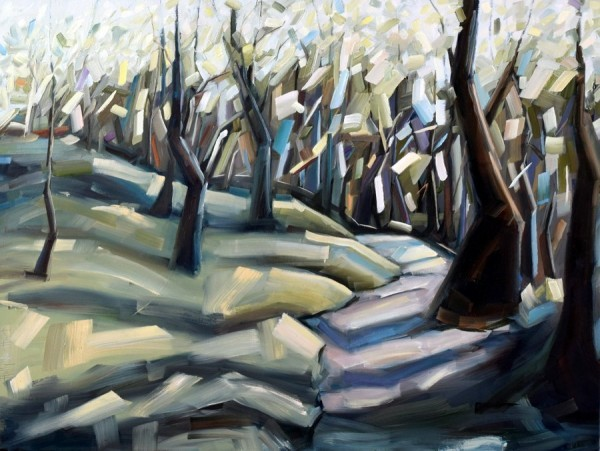 Forest painting | Holly Van Hart | abstract trees in a sunlit forest, oil painting, title 'Alternate Reality'