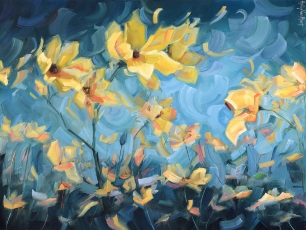 Flower oil painting by Holly Van Hart, Yellow flowers against blue sky, 'How Dreams Are Made'