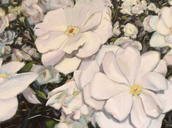 White Flowers Oil Painting | Roses | Abstract Nature Painting By Holly Van Hart | White Gray Yellow Blue Purple