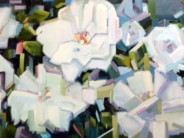 Flower Oil Painting By Holly Van Hart, Abstract White Flowers On Dark Background