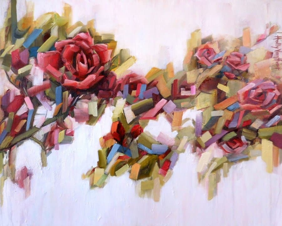 rose jamboree  abstract rose painting by holly van hart