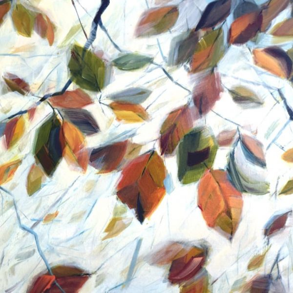 Abstract Landscape Forest Leaves Painting By Holly Van Hart | Leaves Branches Sky Sunlight | Yellow Blue Green Brown Orange Red| Winner Of Best Of Houzz | Breath Of Autumn|