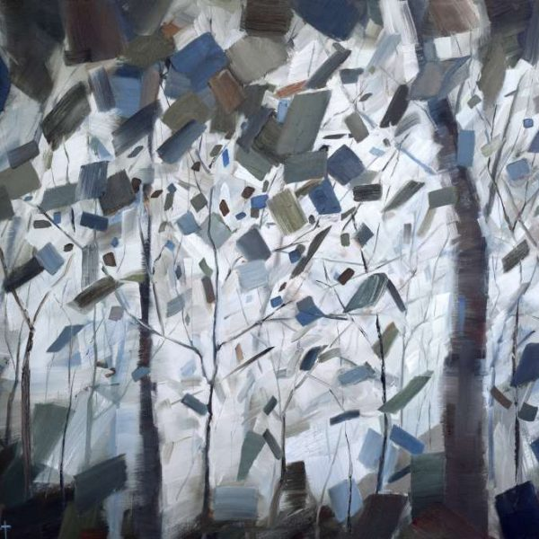 Abstract Forest Tree Painting | Foggy | Holly Van Hart | Abstract Nature Painting | Blue Brown Gray Green
