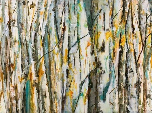 Abstract Forest Landscape Painting By Holly Van Hart | Blue Orange Gray Brown | Birch Aspen Forest Trees