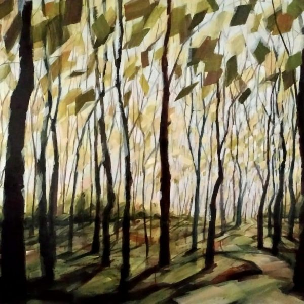 Abstract Landscape Forest Painting By Holly Van Hart | Trees Sky Field | Blue Green Brown Red | Winner Of Best Of Houzz | Washed In Light