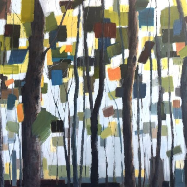 Abstract Landscape Painting | Forest Trees Land Sky | Green Blue Yellow Brown | Painting By Holly Van Hart | Best Of Houzz