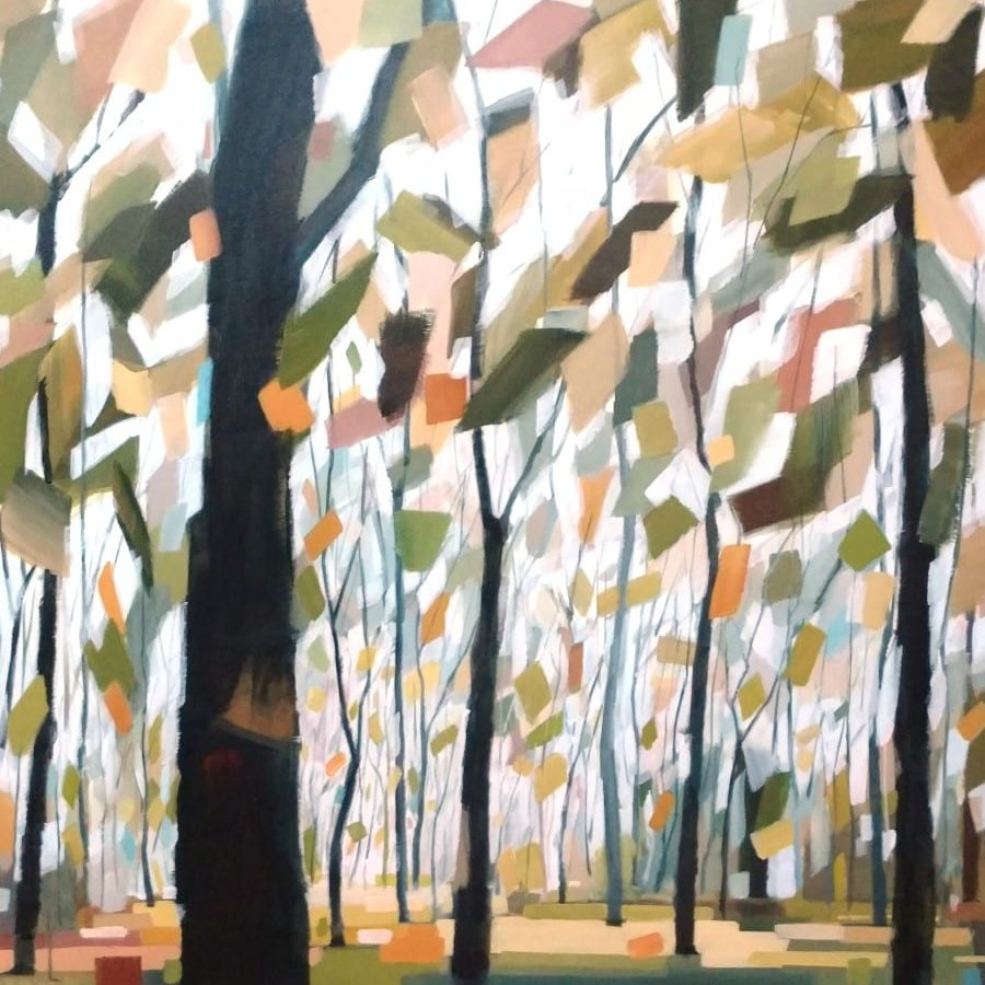 Circling Of The Seasons<br>48 X 48″ Mixed Media Painting By Holly Van Hart