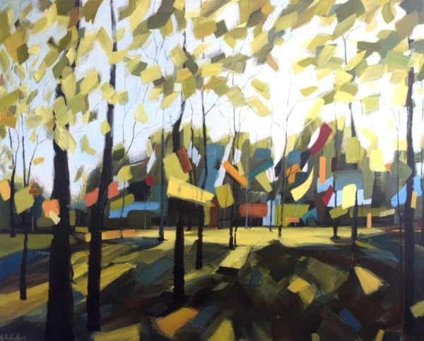 Abstract landscape painting | forest trees land sky | green blue yellow brown red | painting by Holly Van Hart | Best of Houzz | Architect of Peace