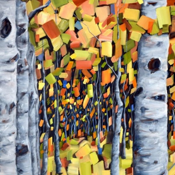Birch Aspen Forest Tree Painting By Holly Van Hart | Abstract | Autumn | Orange Brown Yellow Gray Blue Black