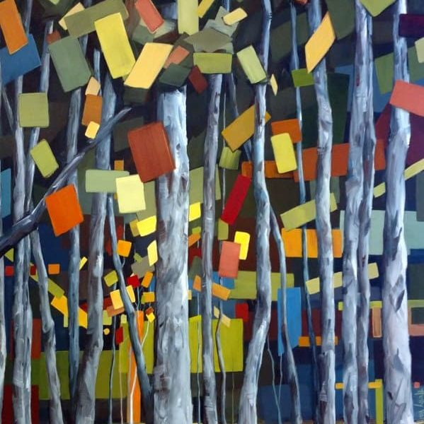 Abstract Aspen Birch Forest Trees Painting Holly VanHart | Abstract Nature Painting | Green Red Blue Gray Brown
