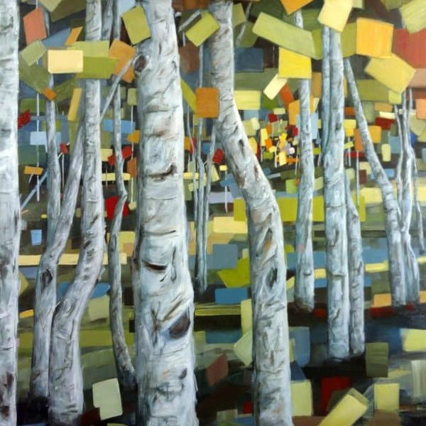 Abstract Birch Aspen Forest Trees Painting Holly Van Hart | Abstract Nature Painting | Green Blue Yellow Red Gray