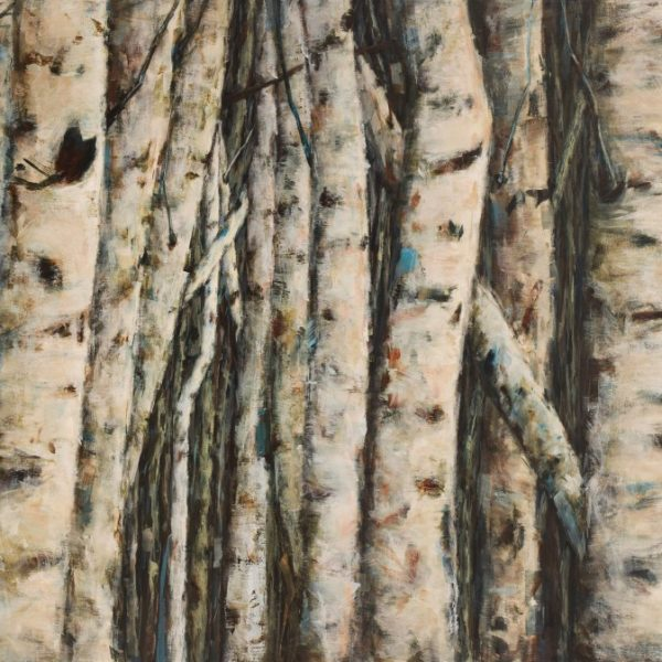 Abstract Landscape Forest Painting By Holly Van Hart | Birch Aspen Tree Colony | Blue Brown Gray White | Winner Of Best Of Houzz