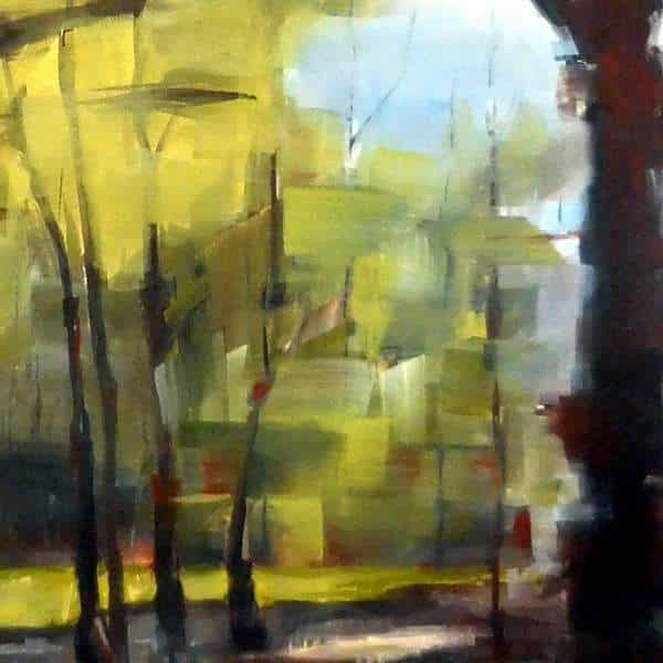 Abstract Forest Painting   Holly Van Hart   in progress painting   Forests Trees
