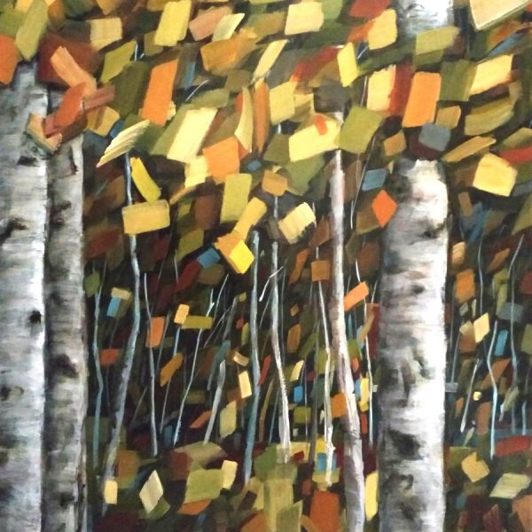 Abstract Landscape Forest Painting By Holly Van Hart | Trees Sky Field | Blue Green Brown Red | Winner Of Best Of Houzz | The Voice Of Leaves