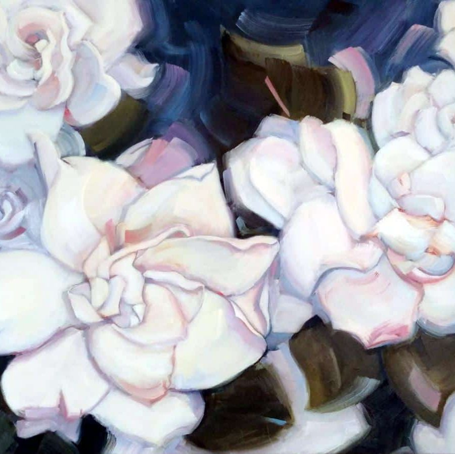 Gardenias Nature | Abstract Oil Painting By Holly Van Hart | Blue White Pink Green
