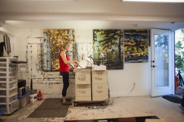 Artist Holly Van Hart in her studio, photo by Daniel Garcia of Content Magazine