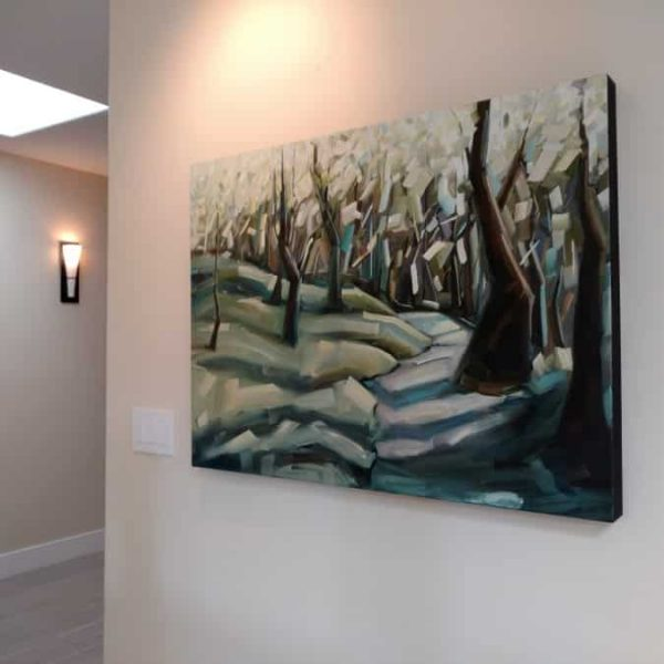 Installed-Abstract-forest-painting-Alternate-Reality-Holly-VanHart-oil-painting-30×40 (Custom)