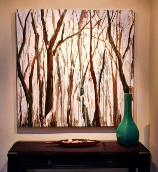 Installed painting - Landscape forest - A Deep Breath - Mixed media painting by Holly Van Hart - 48 x 48 INSTALLED (Custom)