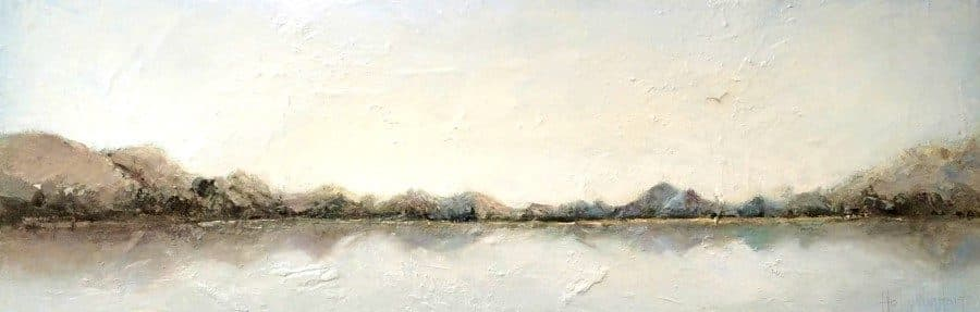 """Abstract landscape mountain lake painting 