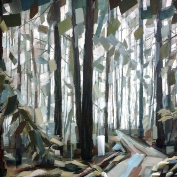 Abstract Landscape Forest Painting By Holly Van Hart | Trees Sky Field Path | Blue Green Brown | Winner Of Best Of Houzz