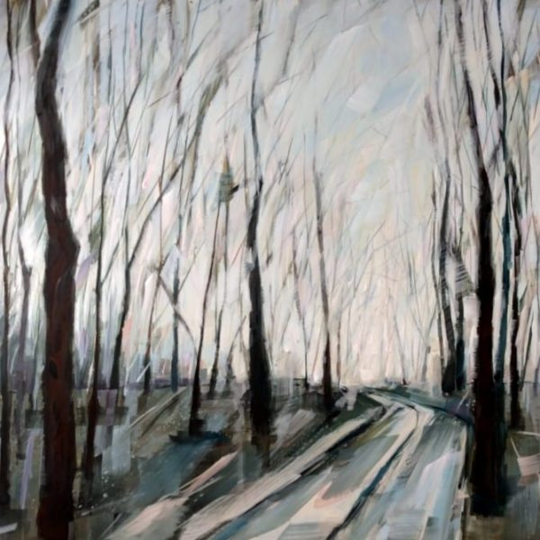Abstract Landscape Forest Painting By Holly Van Hart | Forest Sky Trees Path Landscape Winter| Winner Of Best Of Houzz
