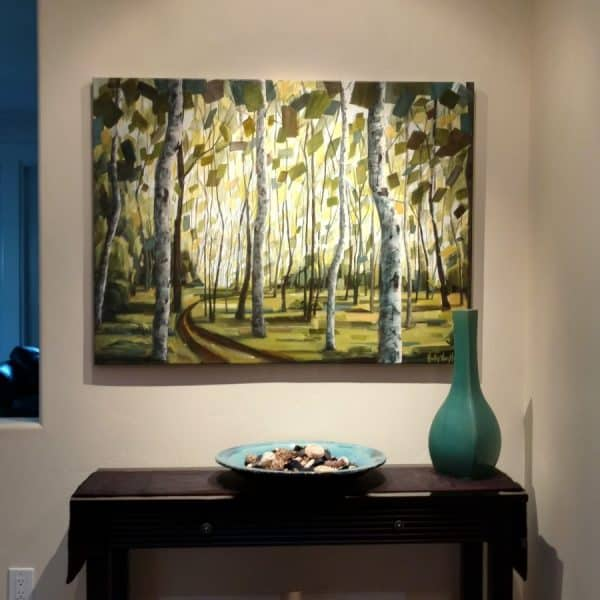 Abstract Landscape Forest Paintings – Holly Van Hart – Boundless Promise – Installed – 36 X 48 Mixed Media On Canvas – 4800 (Custom)