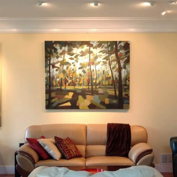Abstract Landscape Forest Paintings – Holly Van Hart -Wandering In Wonder – Installed SQUARE (Custom) (2)