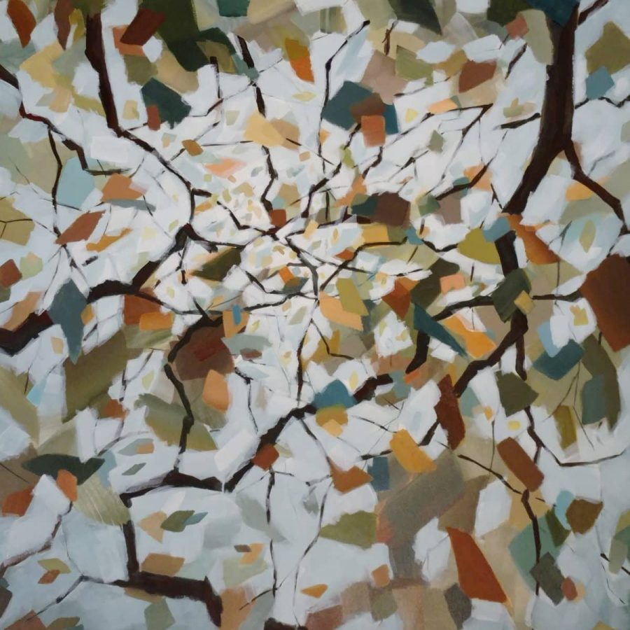 Finished! I wanted the feeling of light through the branches. Whisper's Embrace, Mixed media painting by Holly Van Hart, 48 x 48 inches.