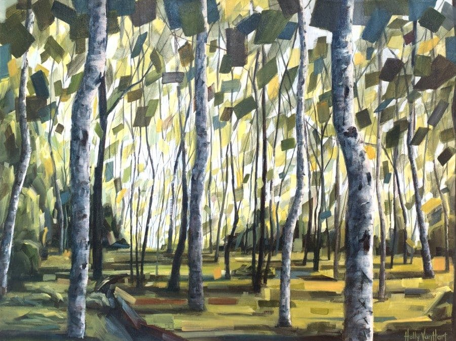 Boundless Promisemixed media painting by Holly Van Hart | birch aspen green yellow gray brown