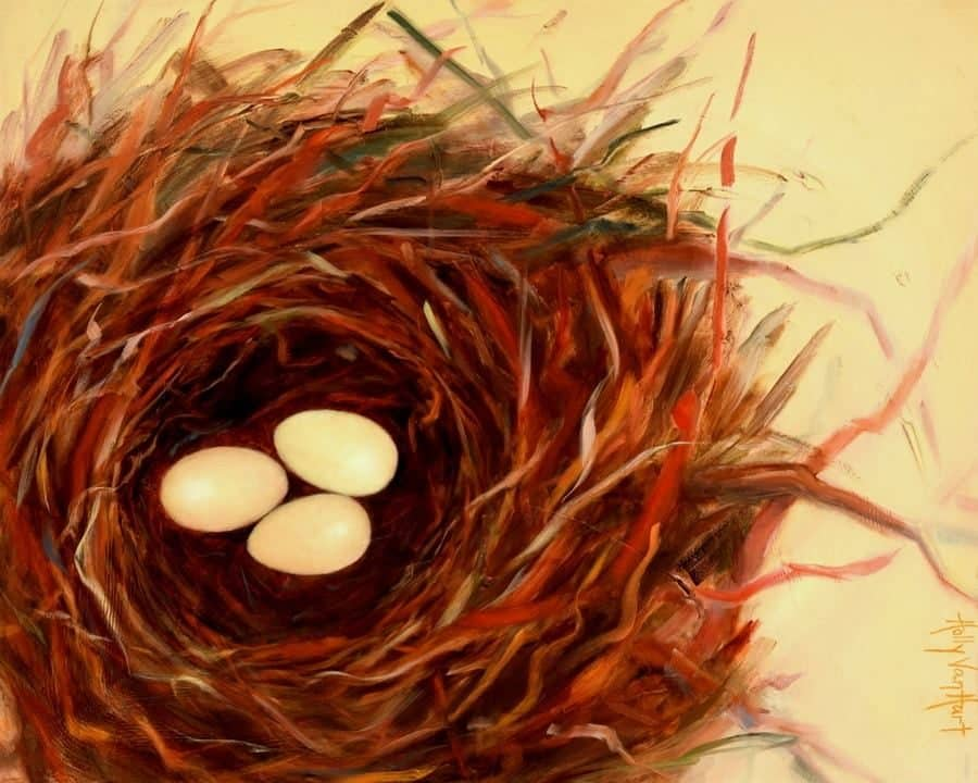 oil painting of large nest with 3 eggs by American artist Holly Van Hart | exhibited at Triton Museum of Art in solo exhibition