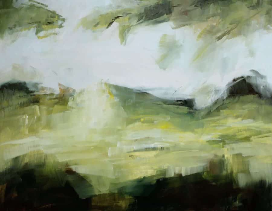 abstract forest painting by Holly Van Hart | sunlit field branches leaves
