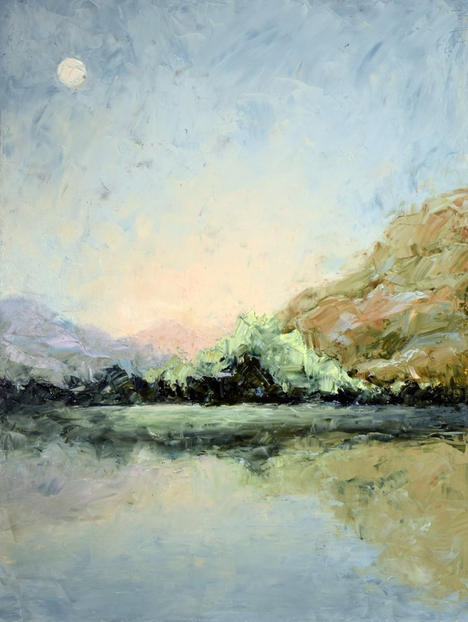 Painting By Holly Van Hart, Landscape, Lake, Fallen Leaf Lake, Morning, Light, Reflections