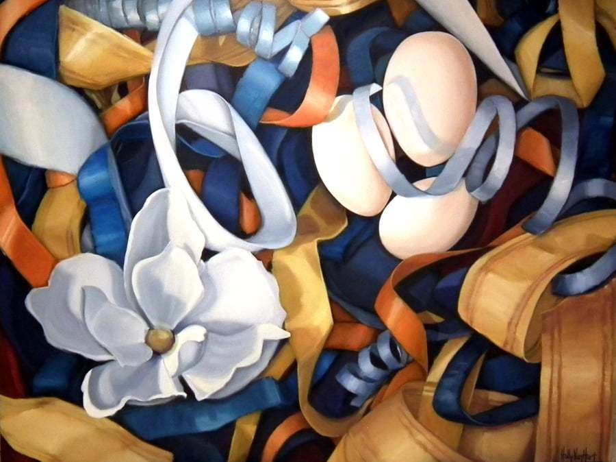 Abstract nest painting by Holly Van Hart | Nest, eggs, ribbons | Blue, gold, yellow, orange, white | Oil painting | 'Posh' | Exhibited at the Triton Museum of Art