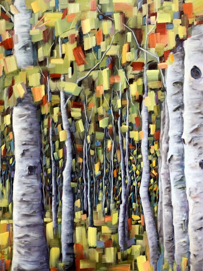 Abstract Birch Forest Oil Painting By Holly Van Hart. Artwork Features Trunks And Green, Yellow And Red Leaves. By Holly Van Hart.