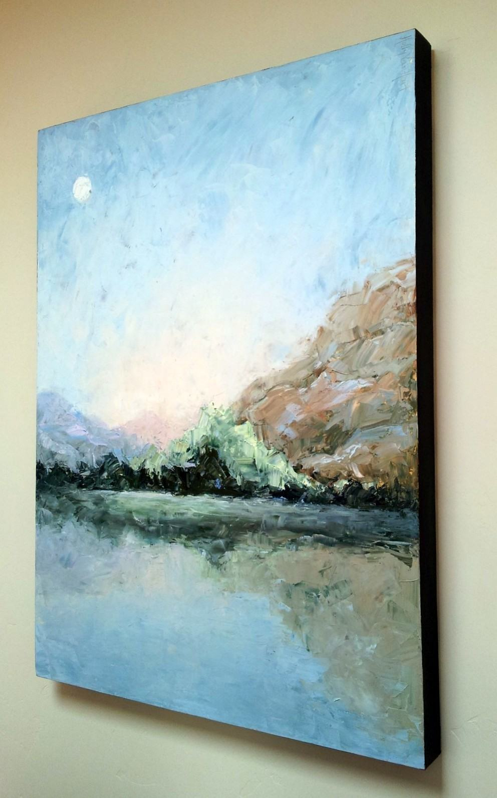 Oil Painting By Holly Van Hart, Blue, Abstract Landscape, Lake, Fallen Leaf Lake