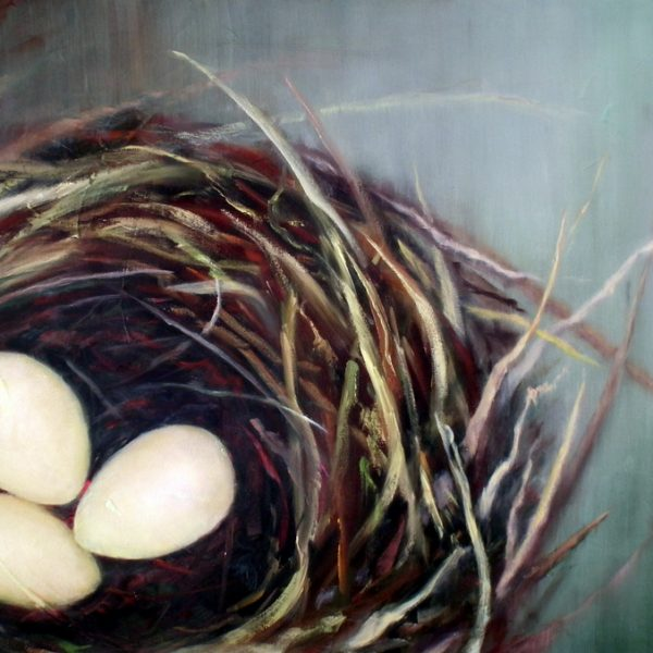 Abstract nest painting by Holly Van Hart | Nest, eggs | Green, brown, white, yellow | Oil painting | 'Nestled' | Exhibited at the Triton Museum of Art