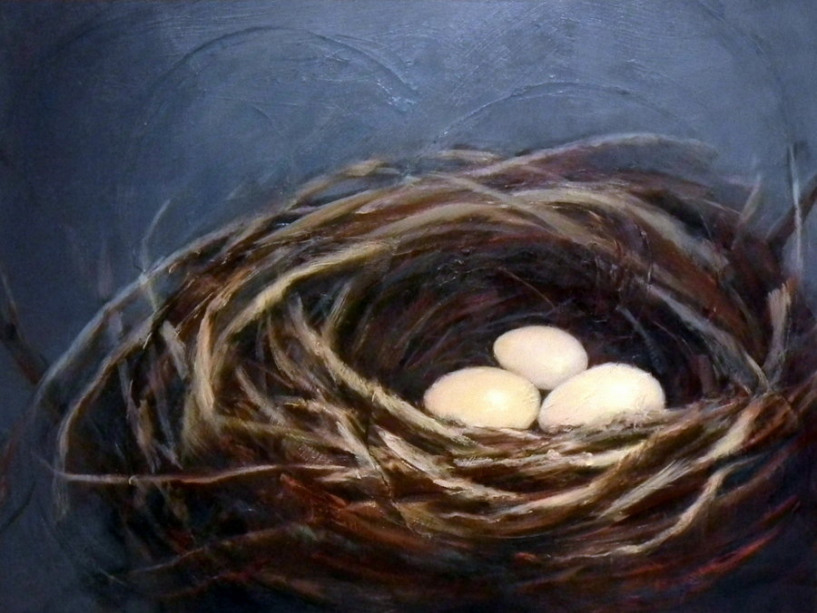 Oil painting by Holly Van Hart, nest, blue, nature's colors abstracted